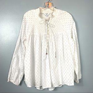Crown & Ivy White Gold Boho Peasant Shirt Size L
